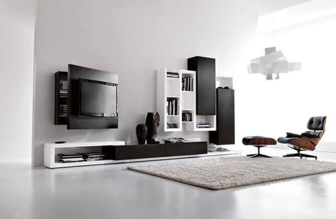 Черно-белый интерьер гостиной фото