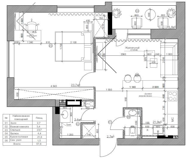 Дизайн интерьера однокомнатной квартиры в ЖК Воздухофлотский Киев IF58