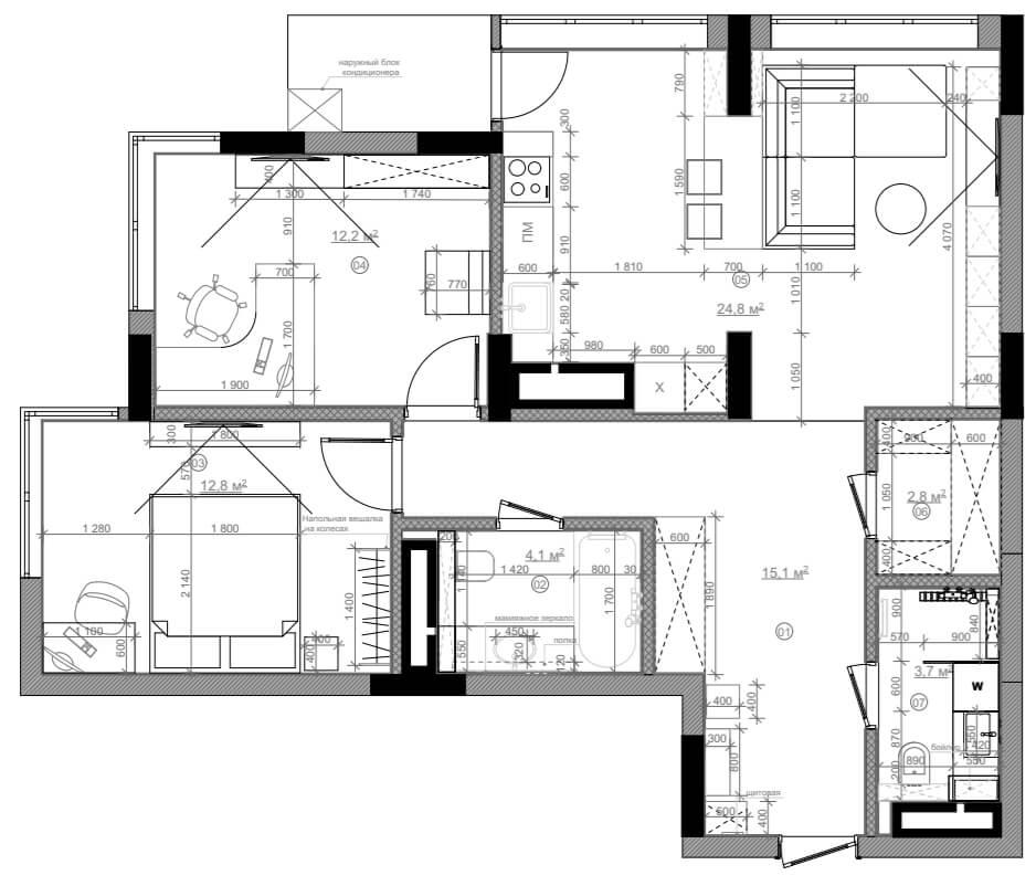 Дизайн интерьера трехкомнатной квартиры ЖК Варшавский квартал UV75