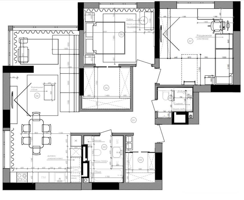 Дизайн интерьера трехкомнатной квартиры ЖК Воздухофлотский Киев FA90