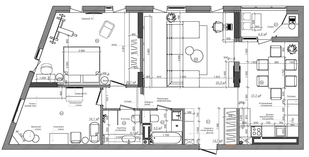 Дизайн интерьера трехкомнатной квартиры ЖК Малахит Киев MA100