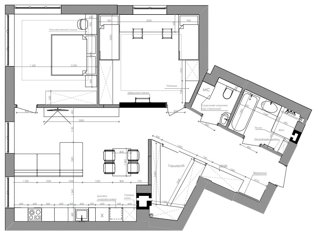 Дизайн интерьера трехкомнатной квартиры ЖК Фаворит Киев AF85