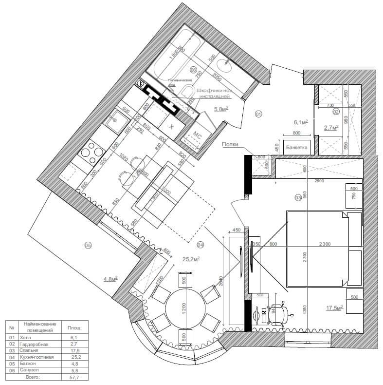 Дизайн интерьера двухкомнатной квартиры ЖК Воздвиженка Киев DP58