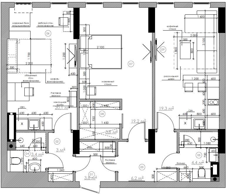 Дизайн интерьера двухкомнатной квартиры ЖК Чикаго CV81