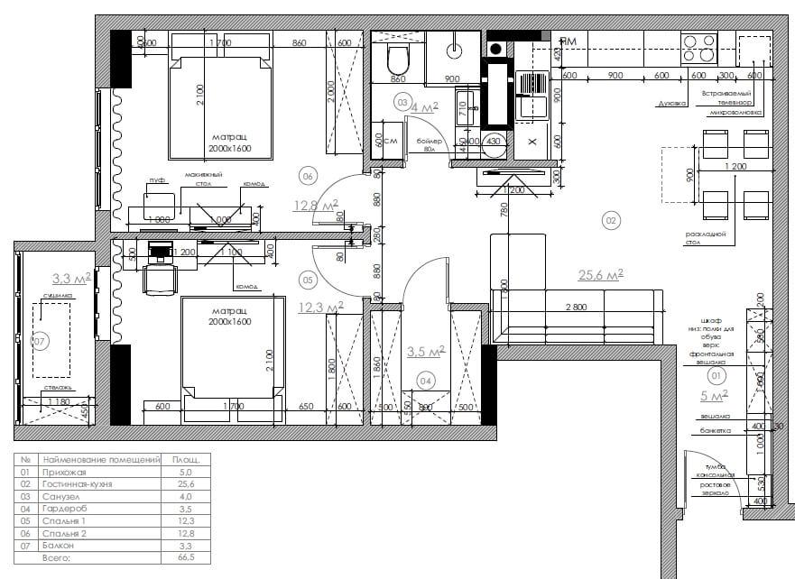 Дизайн интерьера двухкомнатной квартиры ЖК Коновальца Киев BF67