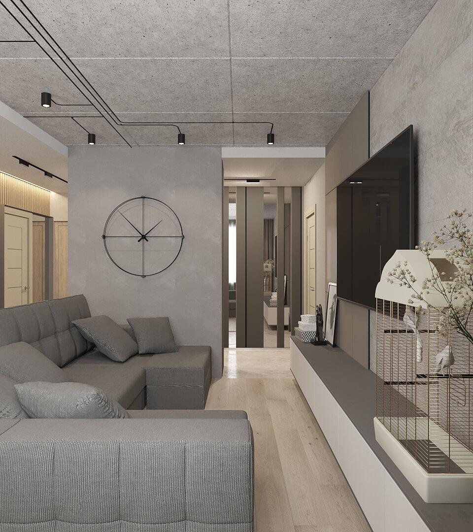 Дизайн интерьера трехкомнатной квартиры LK105