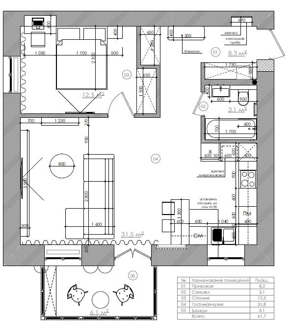 Дизайн интерьера двухкомнатной квартиры на Шевченка TV62