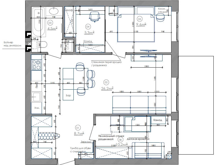 Дизайн интерьера двухкомнатной квартиры ЖК Липинка Киев LA68