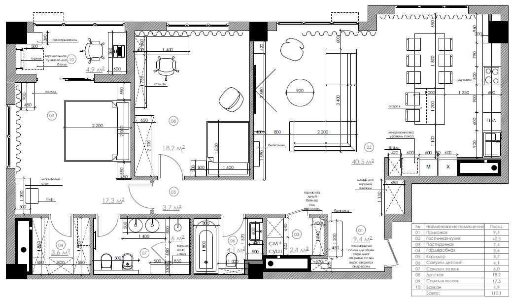 Дизайн интерьера трехкомнатной квартиры в ЖК Бульвар фонтанов BF110