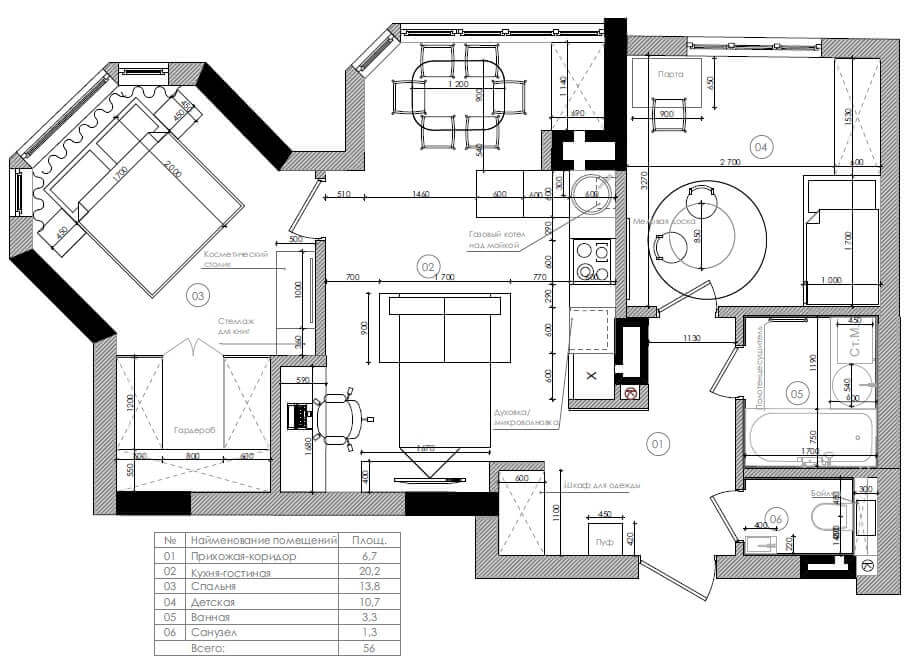 Дизайн интерьера двухкомнатной квартиры в ЖК Скай город Буча DI58